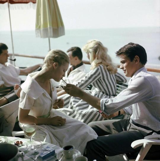 Alain-Delon-With-Romy-at-Cannes-in-1959-